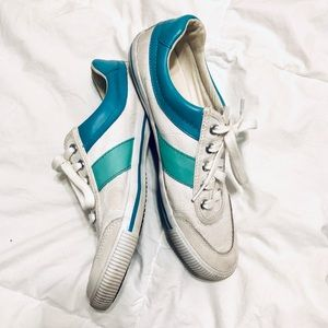 Coach Cady White and Teal Sneakers Size 9